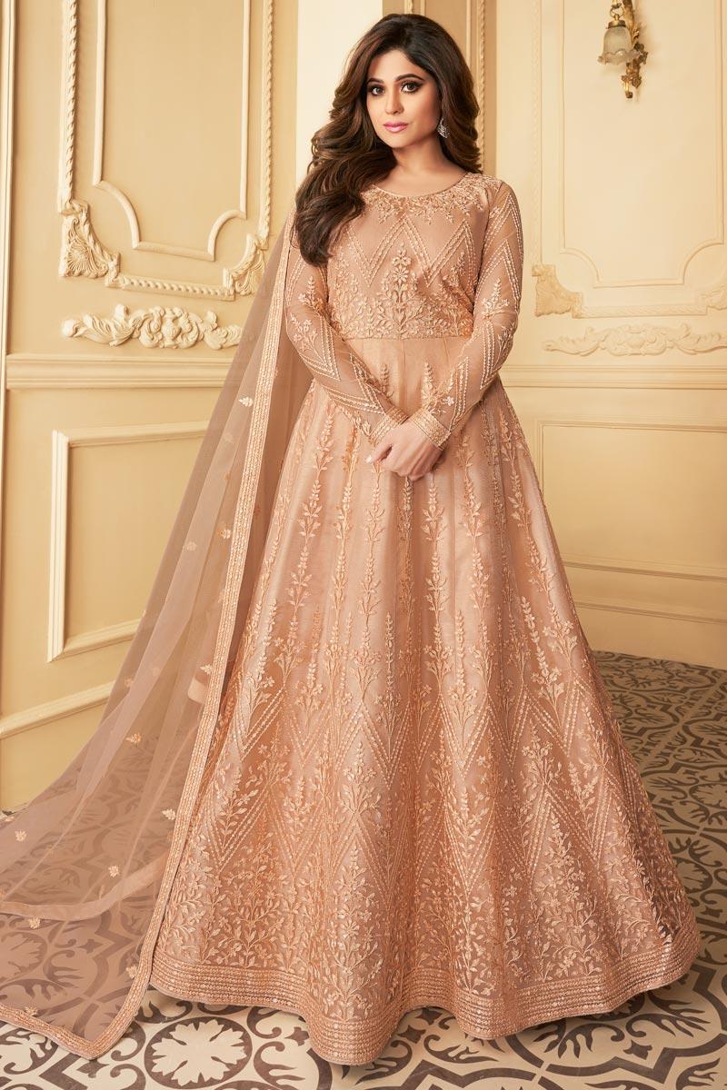 Shamita Shetty Reception Wear Net Fabric Embroidered Peach Color Anarkali Suit
