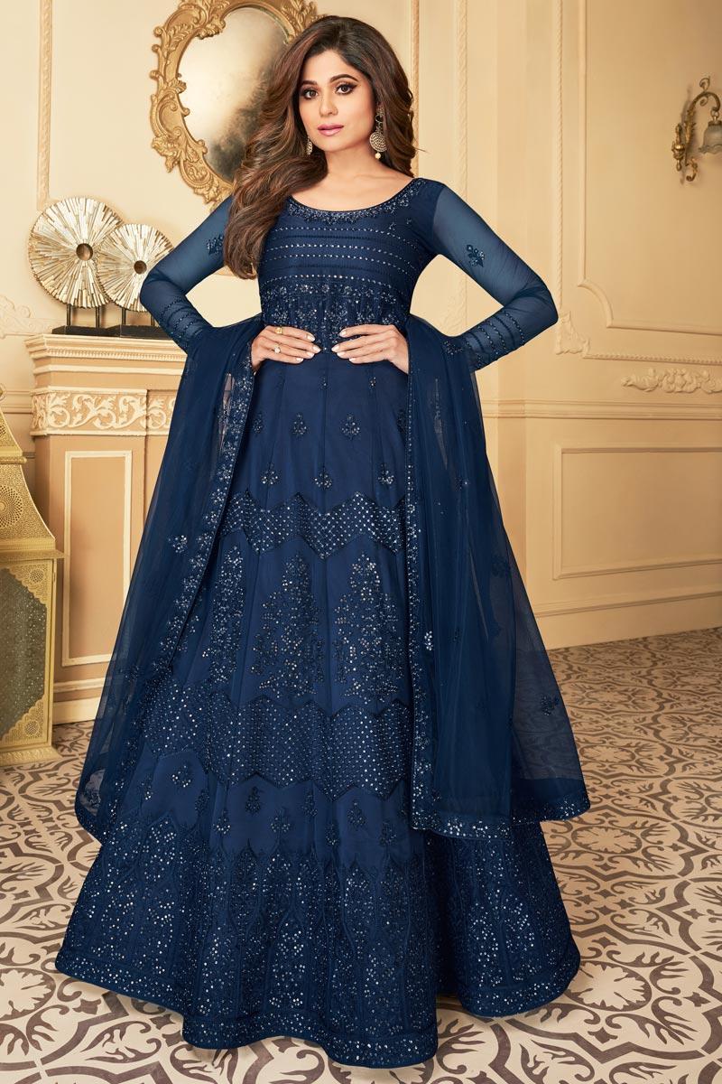 Shamita Shetty Reception Wear Net Fabric Embroidered Anarkali Dress In Navy Blue Color