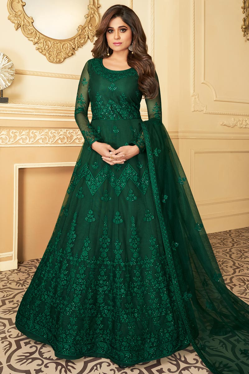 Shamita Shetty Net Fabric Reception Wear Embroidered Dark Green Color Anarkali Suit