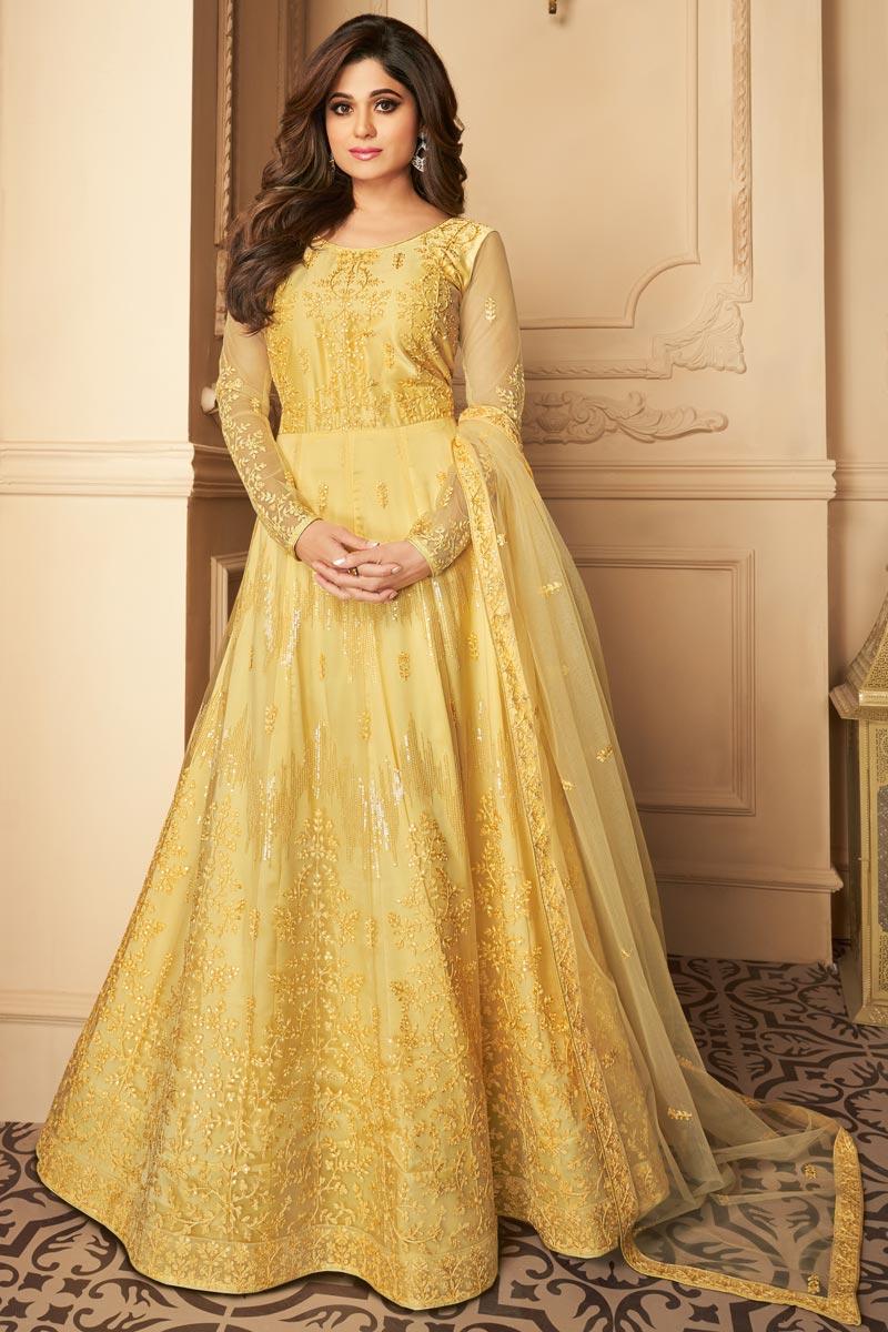 Shamita Shetty Reception Wear Yellow Color Net Fabric Embroidered Anarkali Suit