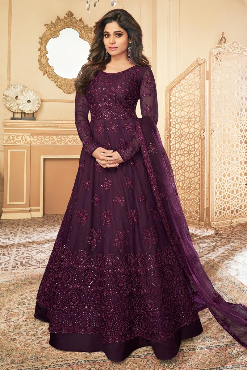 Shamita Shetty Reception Wear Embroidered Purple Color Anarkali Dress In Net Fabric