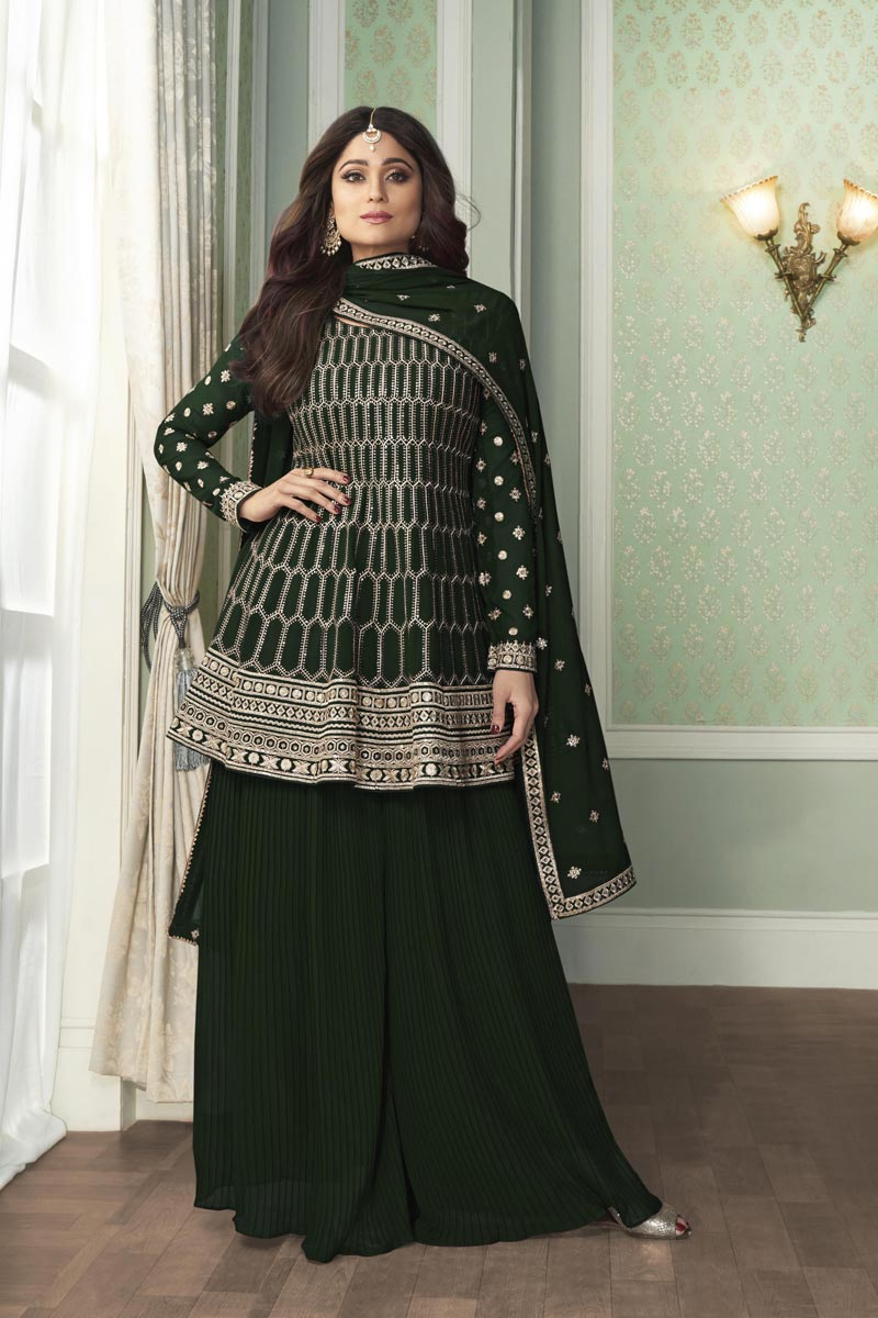 Shamita Shetty Georgette Fabric Party Wear Fancy Embroidered Palazzo Dress