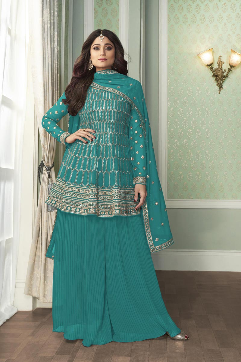 Shamita Shetty Party Wear Fancy Georgette Fabric Embroidered Palazzo Suit