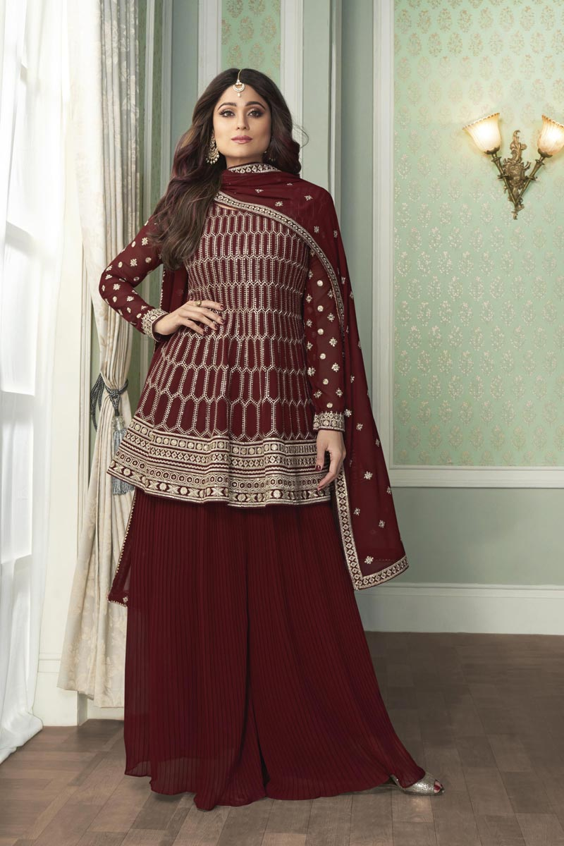 Shamita Shetty Fancy Party Wear Embroidered Palazzo Dress In Georgette Fabric
