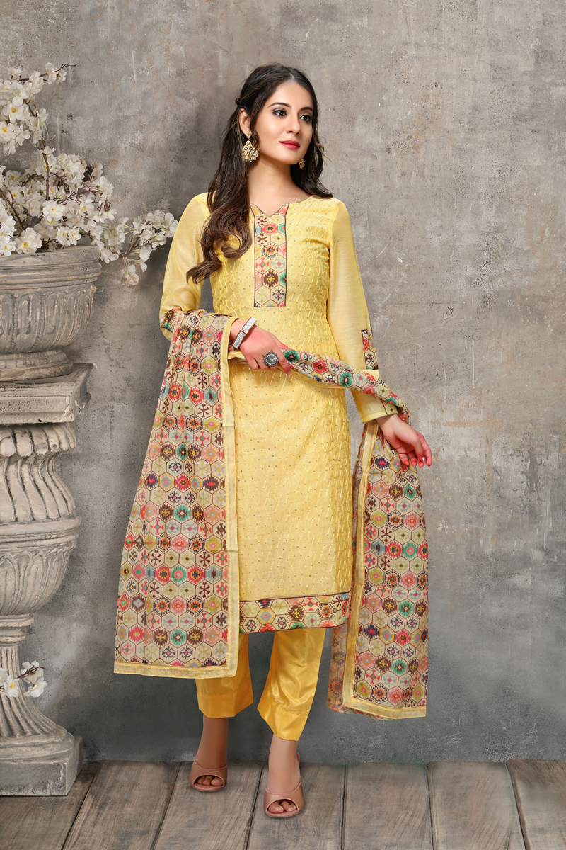 Yellow Color Chanderi Fabric Casual Wear Embroidered Suit