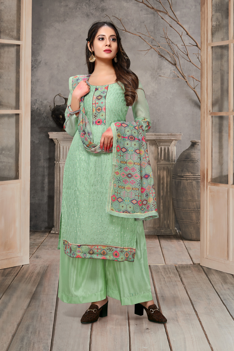 Daily Wear Sea Green Color Embroidered Palazzo