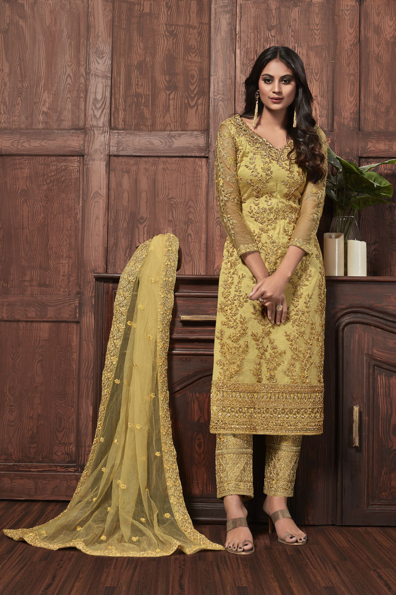 Occasion Wear Yellow Color Embroidered Salwar Kameez In Net Fabric