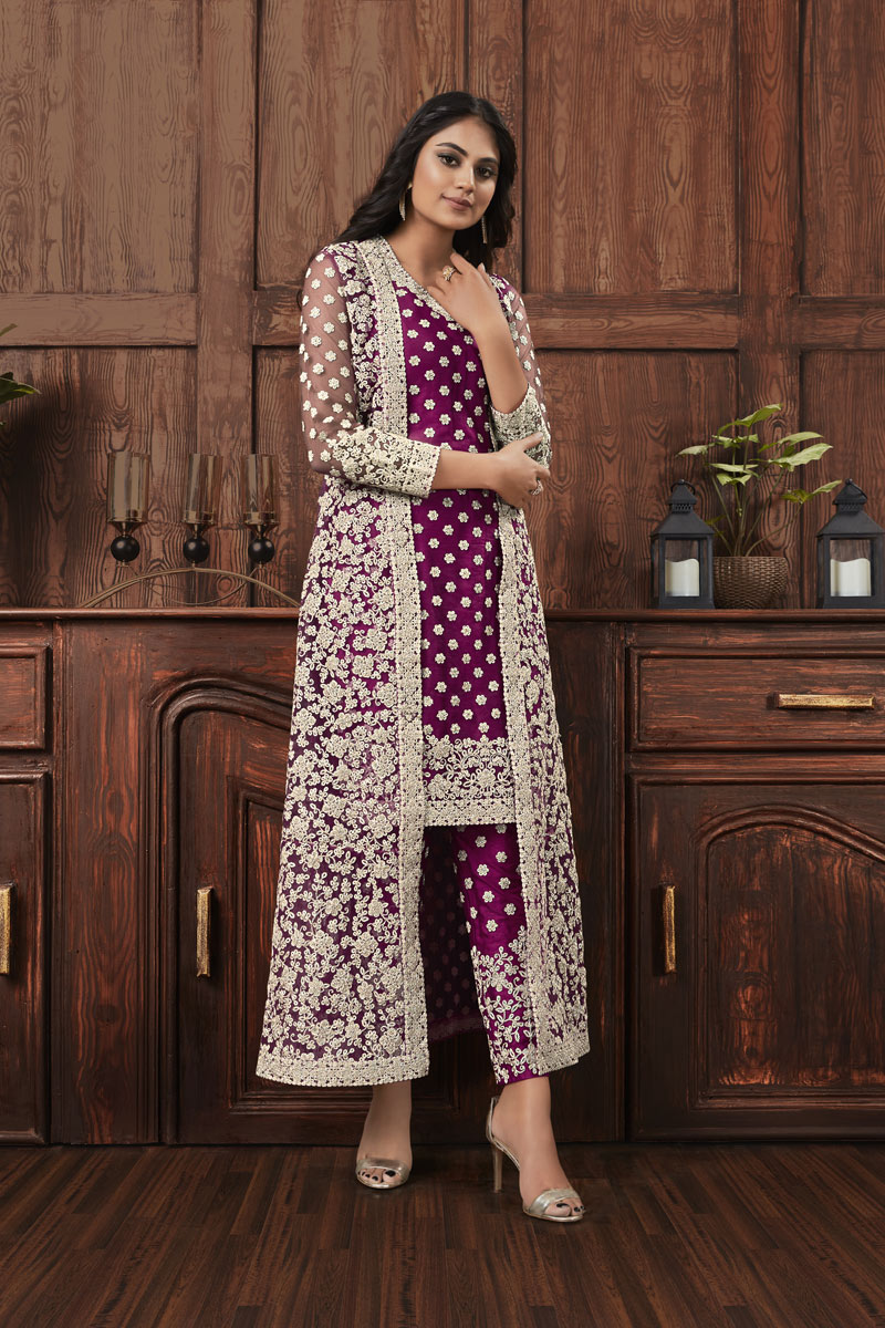 Festive Special Embroidery Work On Dark Magenta Color Net Fabric Salwar Suit