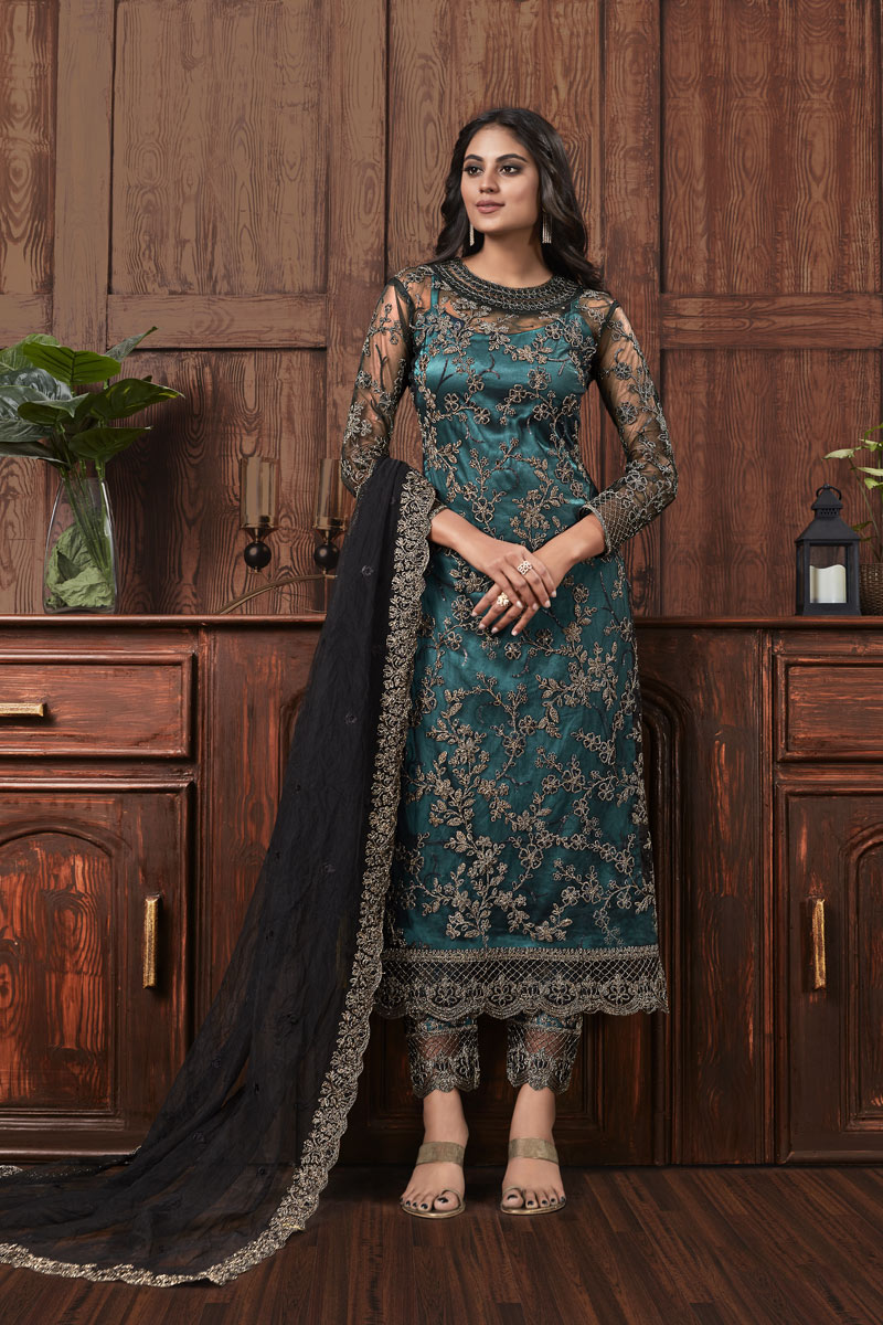 Festive Special Net Fabric Teal Color Suit With Embroidery Work
