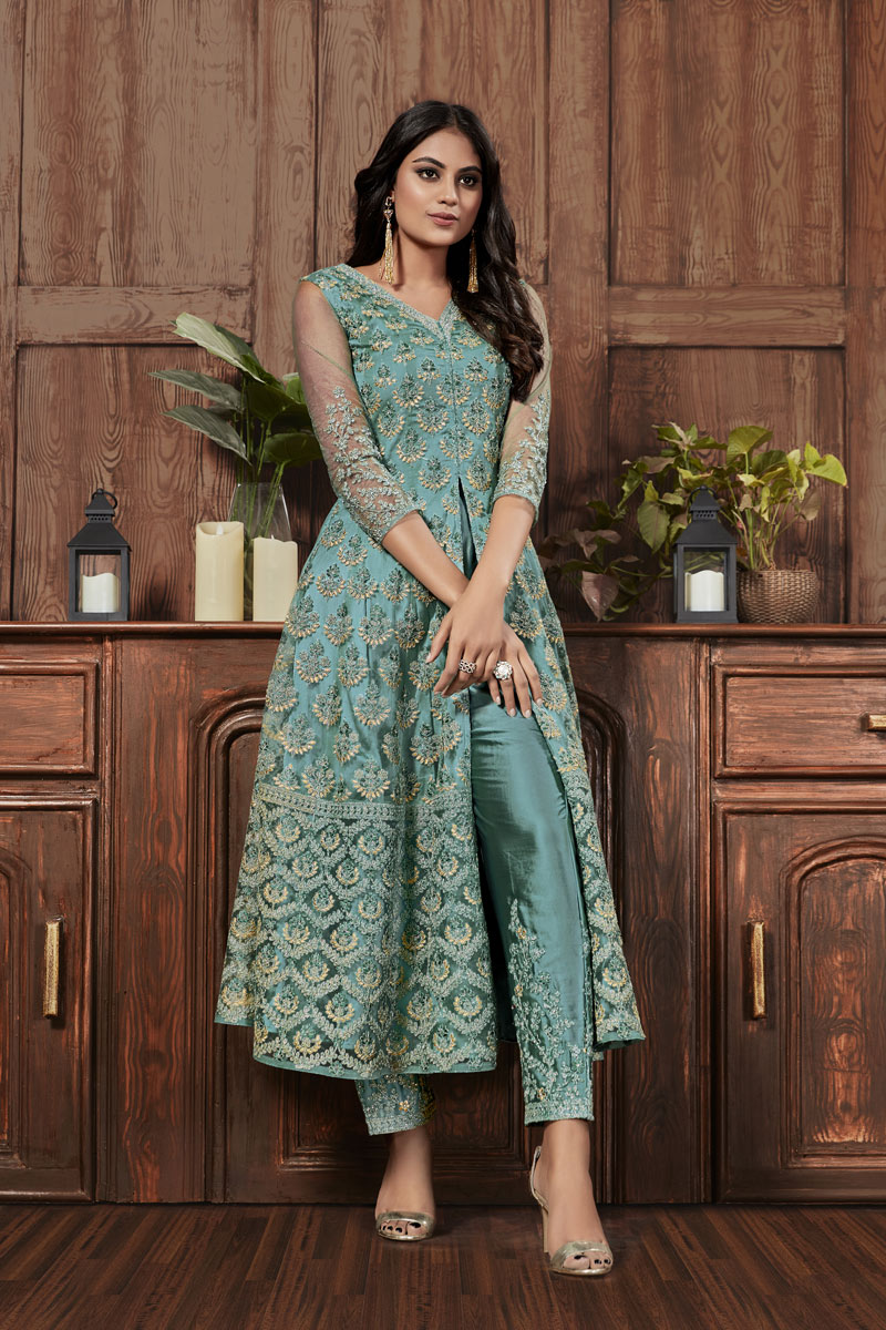 Festive Special Embroidery Designs On Light Cyan Color Net Fabric Function Wear Salwar Suit