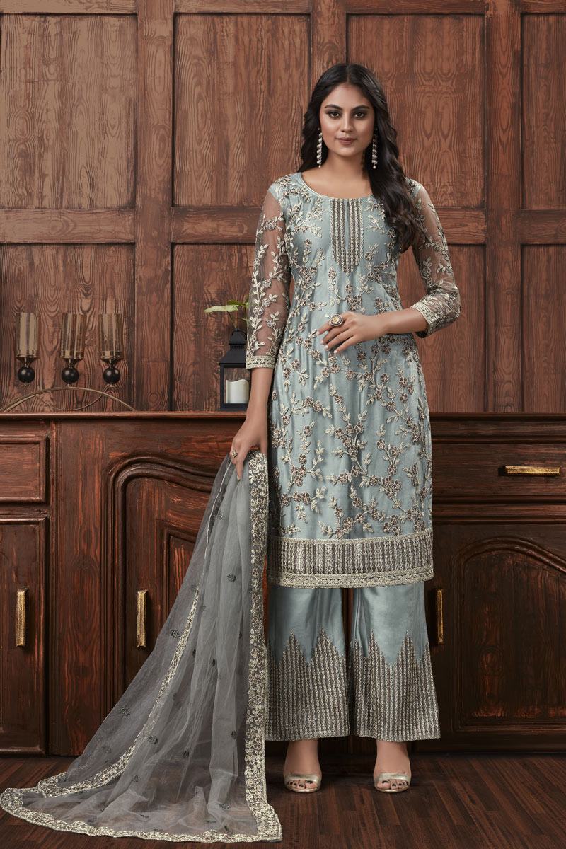 Embroidered Net Fabric Grey Color Function Wear Palazzo Suit
