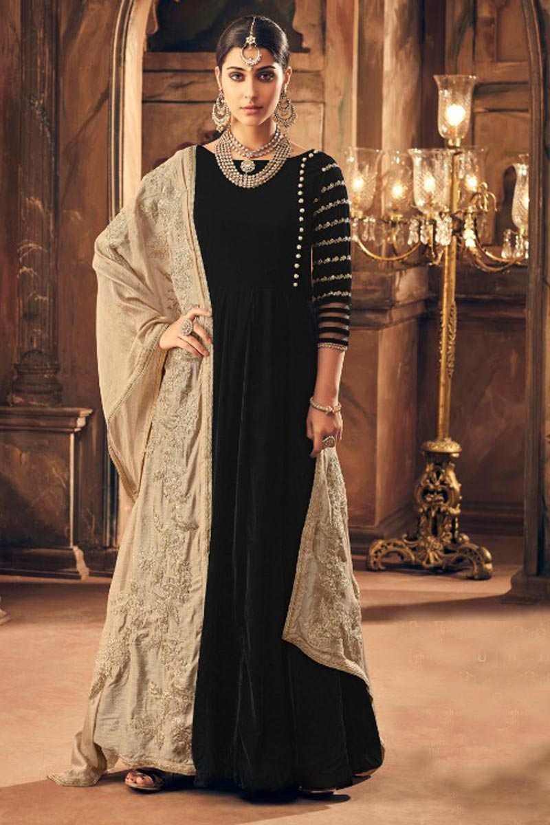 Buy Embroidery Designs On Black Velvet Function Wear Anarkali Salwar Suit Online From India At Discounted Prices
