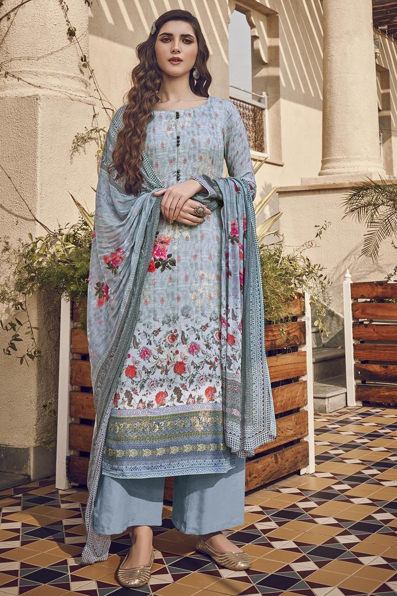 Festive Wear Light Cyan Color Viscose Fabric Elegant Printed Salwar Kameez