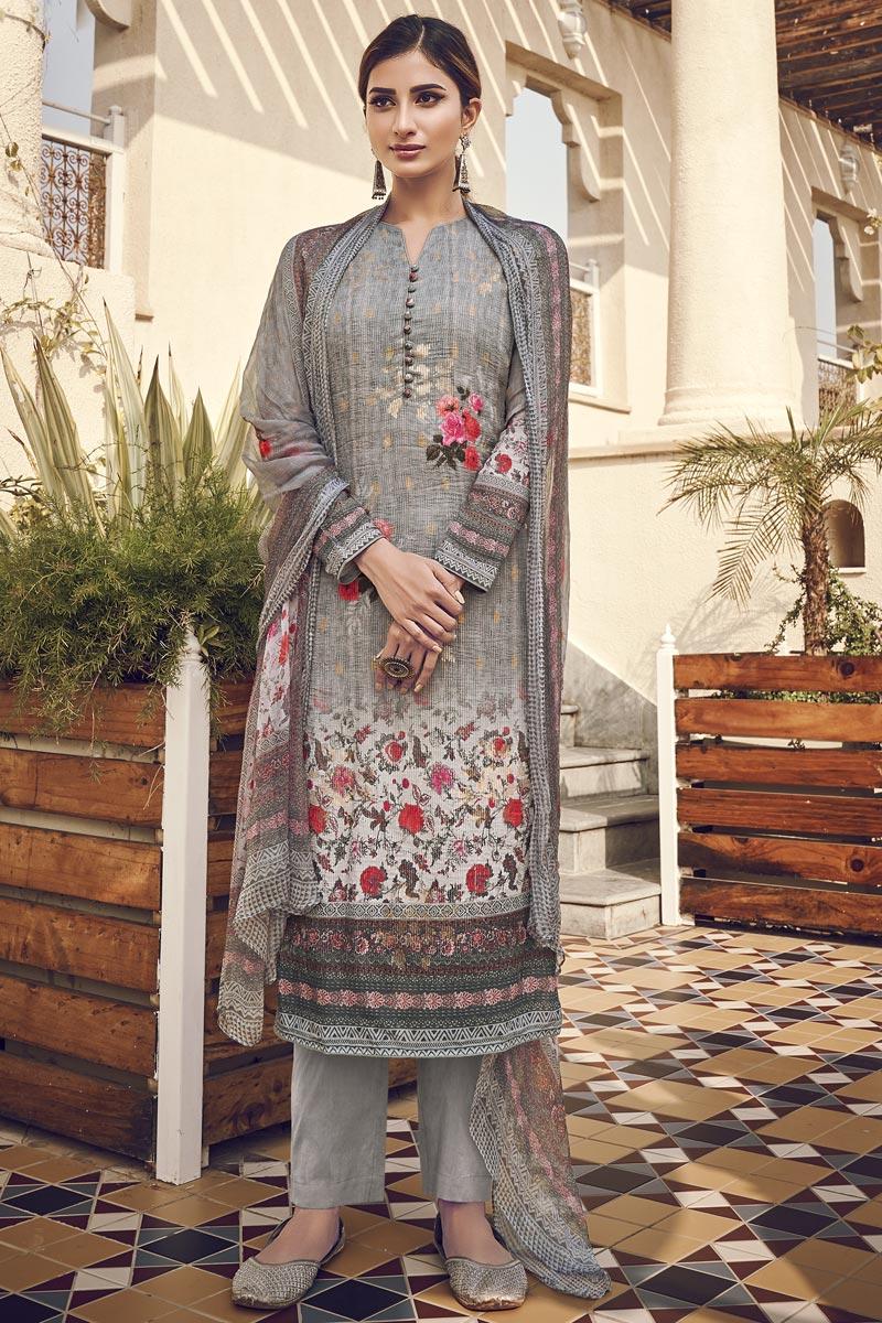 Viscose Fabric Festive Wear Elegant Printed Salwar Suit In Grey Color