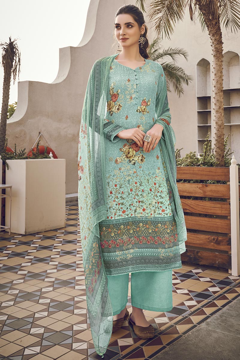 Festive Wear Cyan Color Elegant Printed Salwar Suit In Viscose Fabric