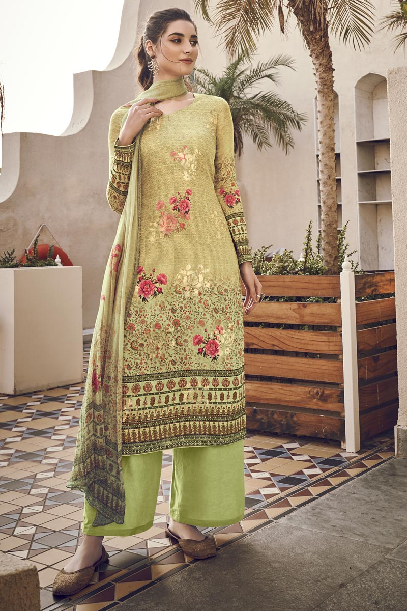 Viscose Fabric Festive Wear Elegant Printed Beige Color Salwar Kameez