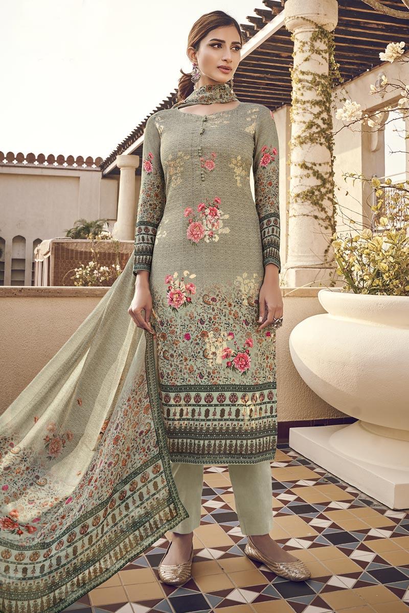Viscose Fabric Festive Wear Elegant Printed Cream Color Salwar Suit