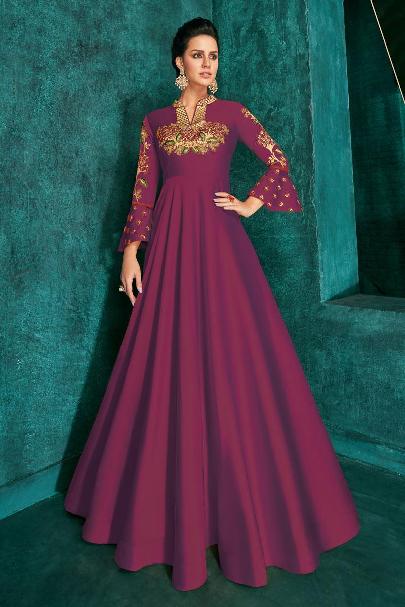 Party Wear Magenta Color Designer Art Silk Readymade Floor Length Gown