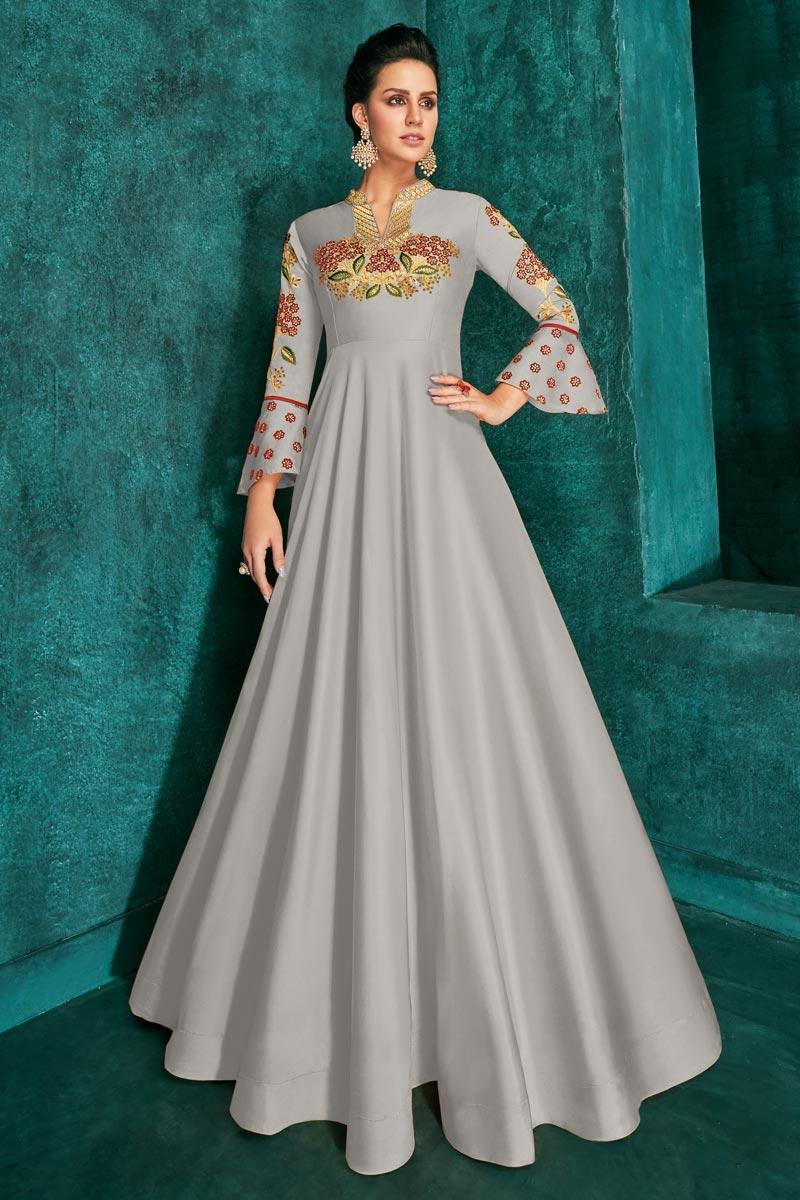 Art Silk Function Wear Designer Readymade Gown In Grey