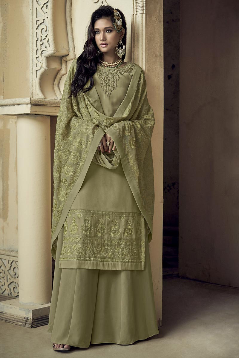 Party Style Sea Green Color Classic Embroidered Georgette Fabric Palazzo Suit