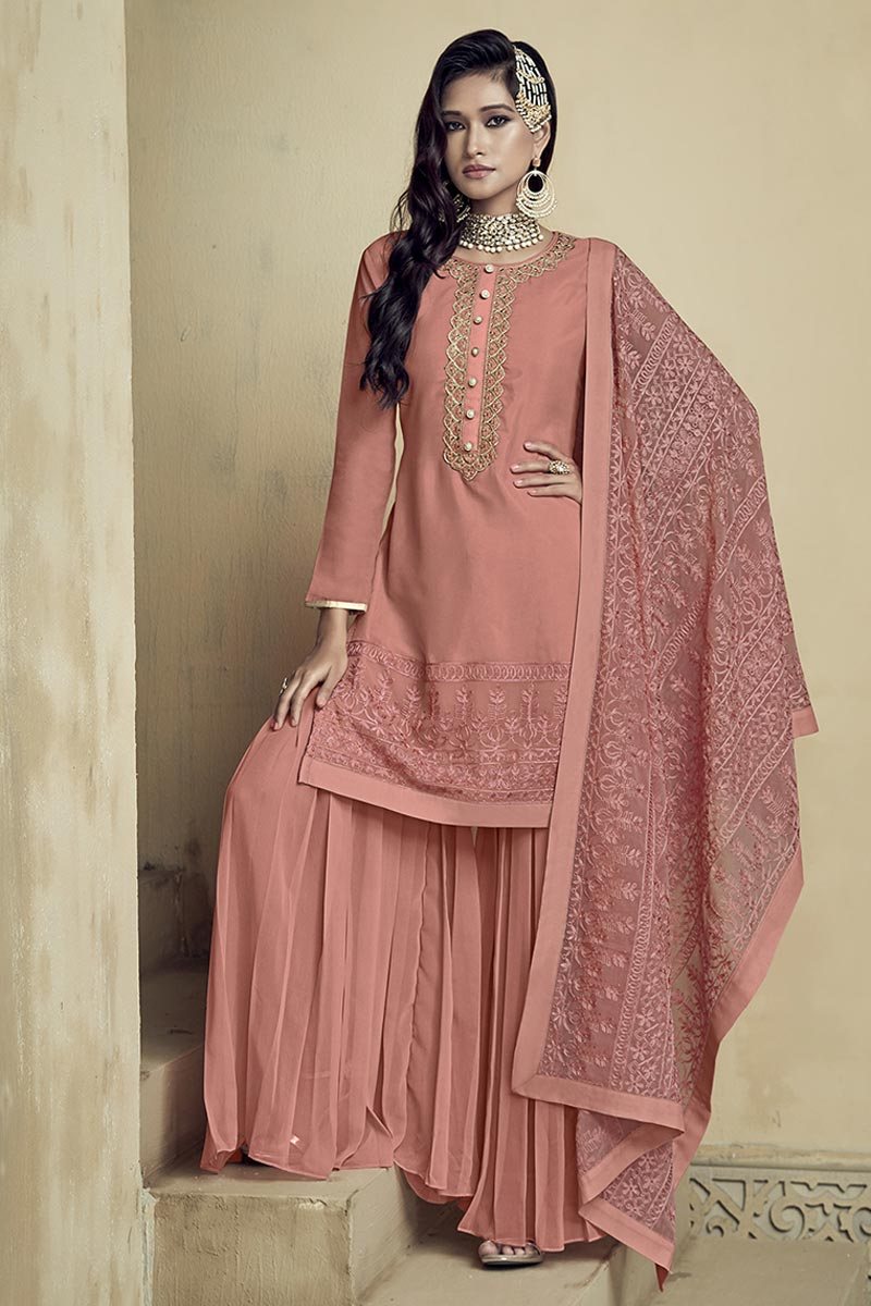 Party Style Classic Peach Color Embroidered Palazzo Suit In Georgette Fabric
