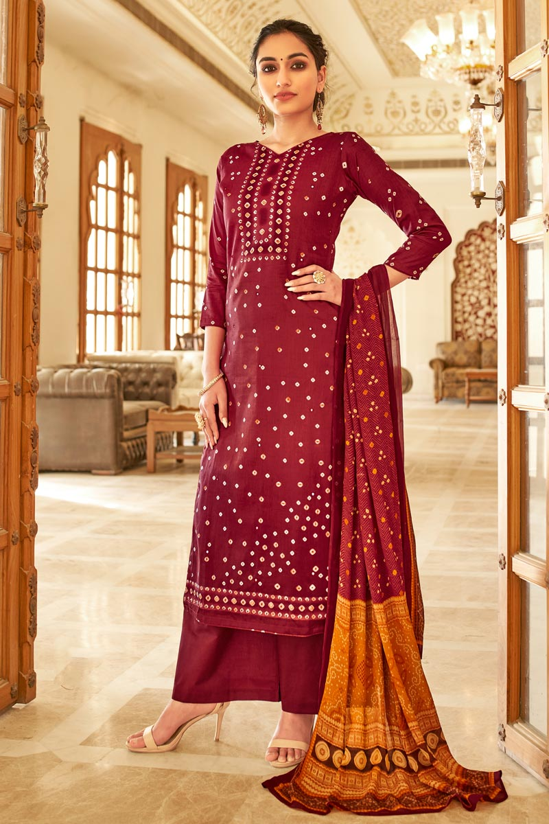 Maroon Color Casual Wear Fancy Bandhej Print Jaam Cotton Fabric Palazzo Suit