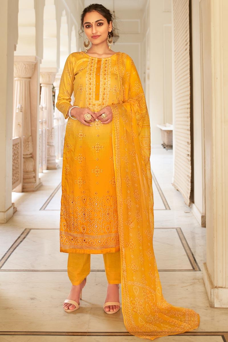 Mustard Color Casual Wear Fancy Bandhej Print Jaam Cotton Fabric Palazzo Dress
