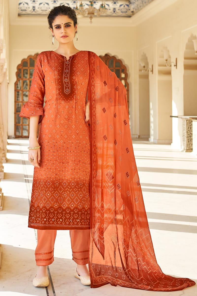 Jaam Cotton Fabric Casual Wear Orange Color Fancy Bandhej Print Palazzo Suit
