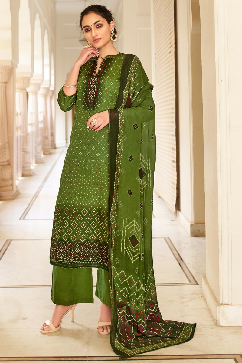 Green Color Jaam Cotton Fabric Casual Wear Fancy Bandhej Print Palazzo Dress