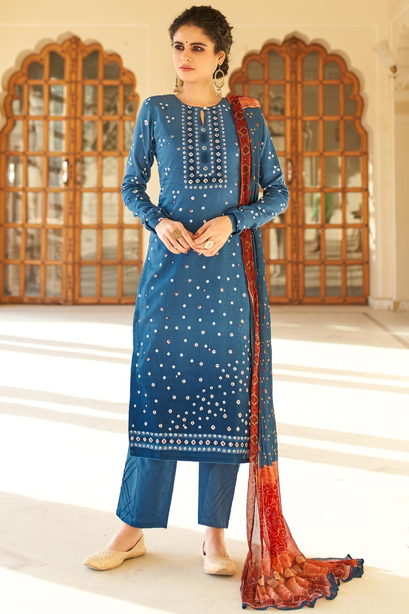 Jaam Cotton Fabric Casual Wear Fancy Bandhej Print Palazzo Dress In Blue Color