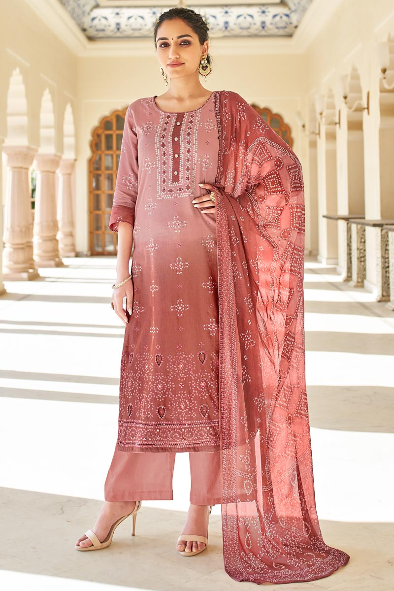 Casual Wear Jaam Cotton Fabric Peach Color Fancy Bandhej Print Palazzo Suit