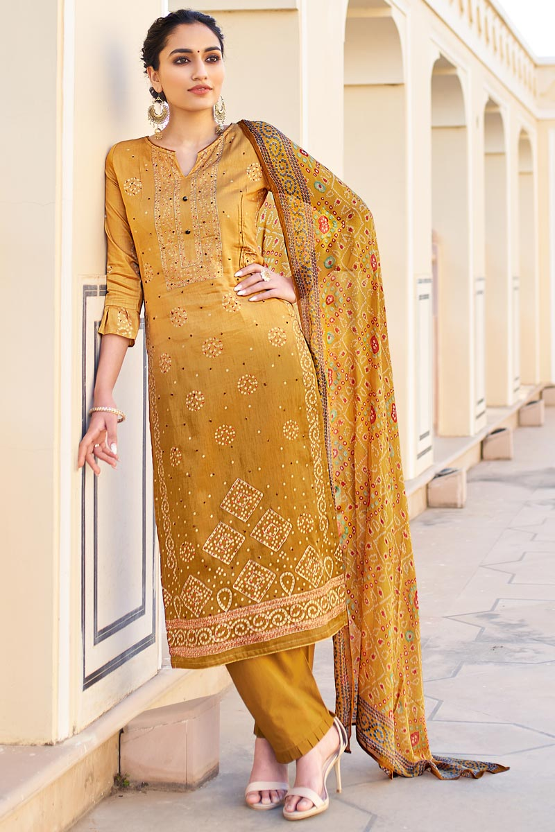 Jaam Cotton Fabric Casual Wear Fancy Bandhej Print Yellow Color Palazzo Suit