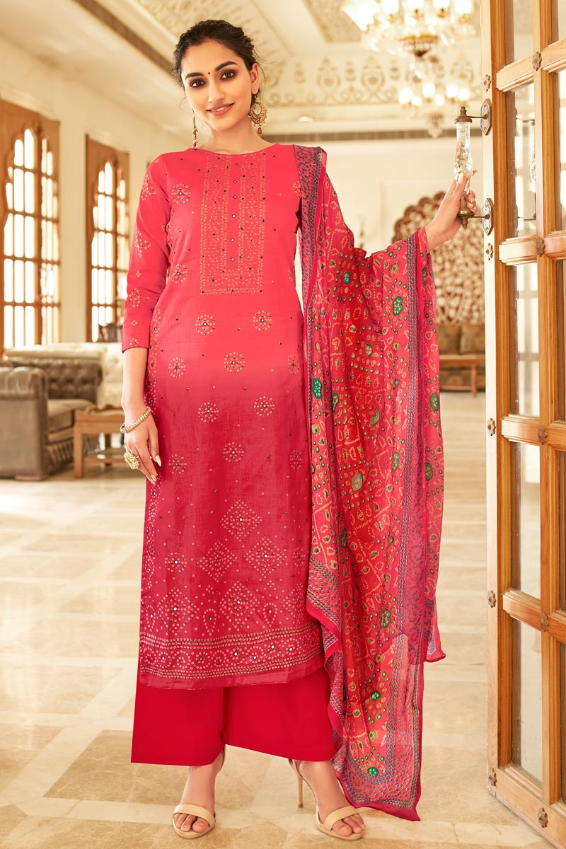 Jaam Cotton Fabric Casual Wear Fancy Bandhej Print Pink Color Palazzo Dress