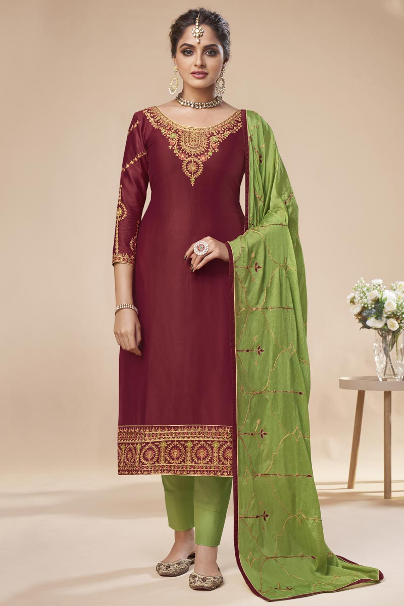 Maroon Color Festive Wear Elegant Embroidered Art Silk Straight Cut Dress