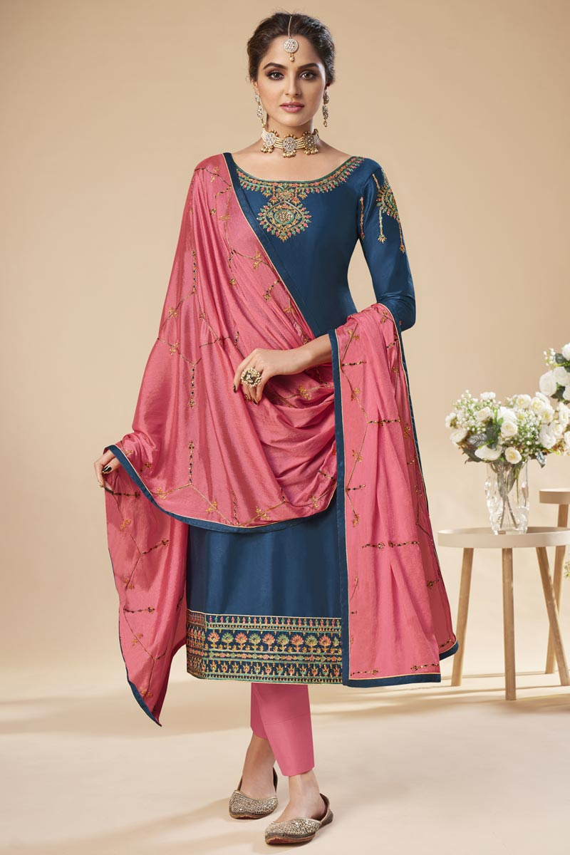 Navy Blue Color Festive Wear Elegant Embroidered Straight Cut Suit In Art Silk