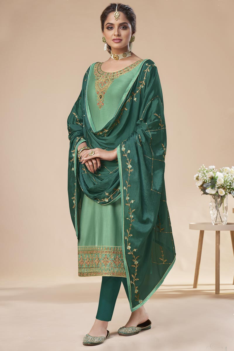 Art Silk Festive Wear Elegant Embroidered Straight Cut Suit In Sea Green Color