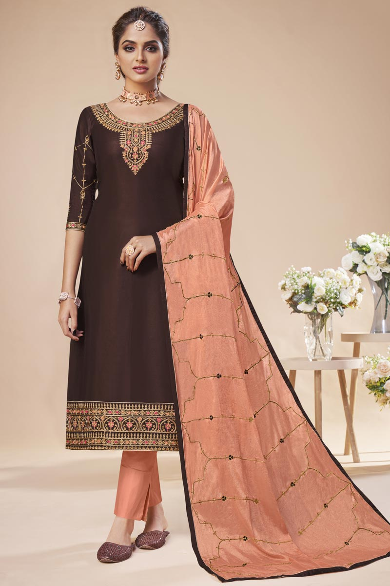 Festive Wear Brown Color Elegant Embroidered Straight Cut Art Silk Dress