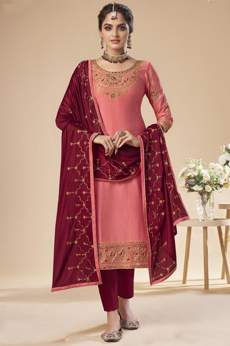 Festive Wear Pink Color Elegant Embroidered Straight Cut Suit In Art Silk