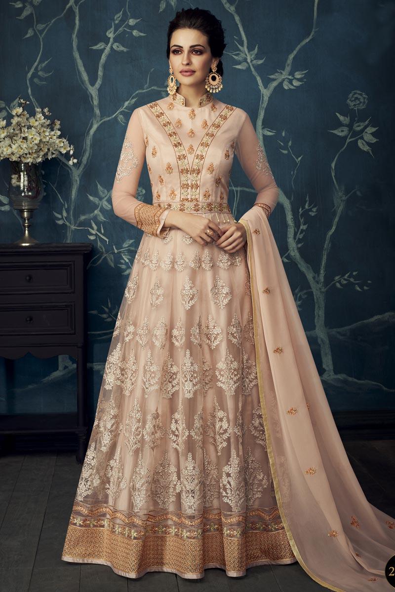 Function Wear Georgette And Net Designer Embroidered Cream Anarkali Dress