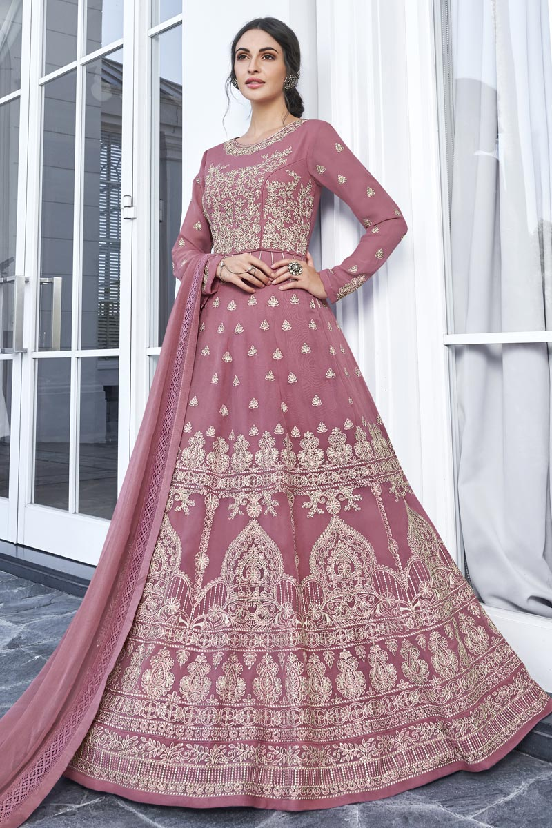 Eid Special Georgette Fancy Pink Function Wear Embroidered Long Length Anarkali Dress