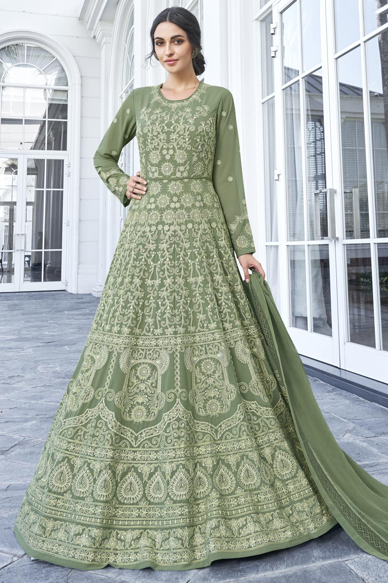Eid Special Function Wear Georgette Fancy Embroidered Floor Length Anarkali Suit In Green