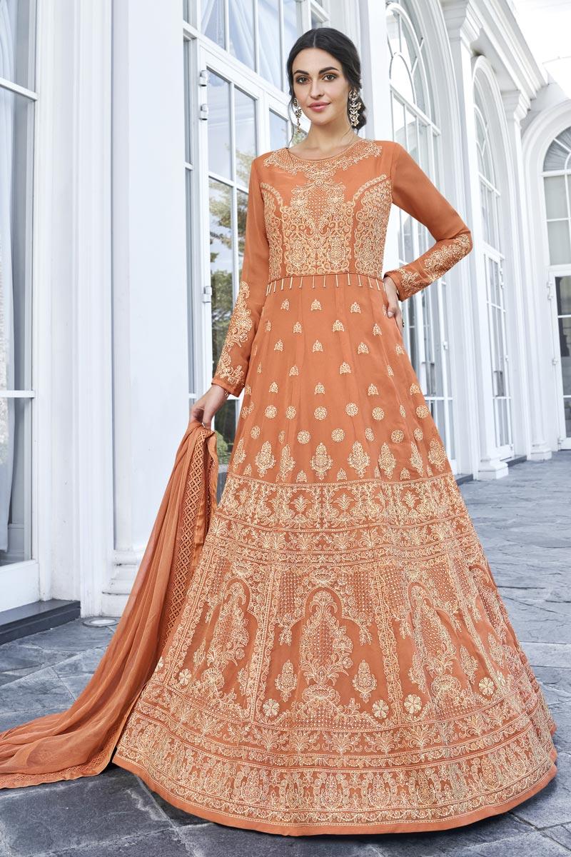 Eid Special Fancy Georgette Function Wear Embroidered Orange Long Length Anarkali Dress
