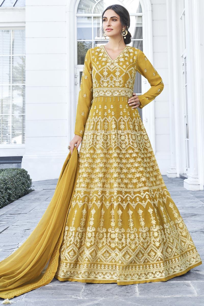Eid Special Fancy Georgette Function Wear Embroidered Yellow Long Length Anarkali Dress