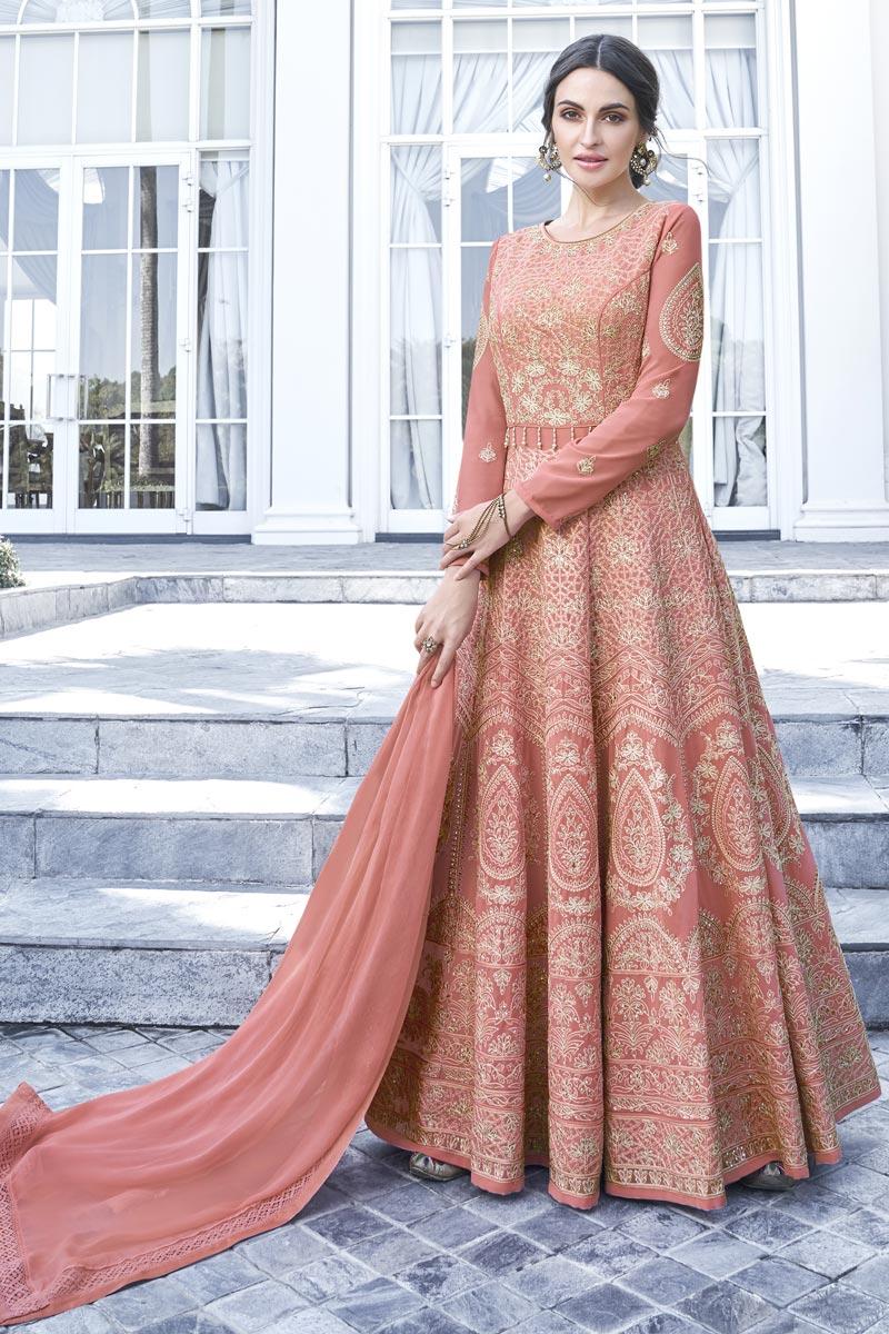 Eid Special Georgette Function Wear Fancy Peach Embroidered Long Length Anarkali Dress