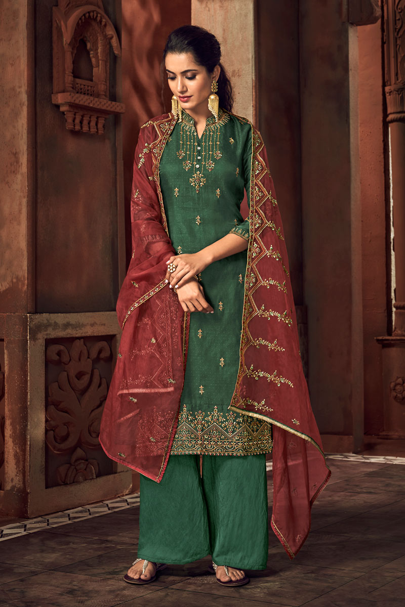 Eid Special Dark Green Color Embroidered Art Silk Fabric Designer Palazzo Style Salwar Kameez
