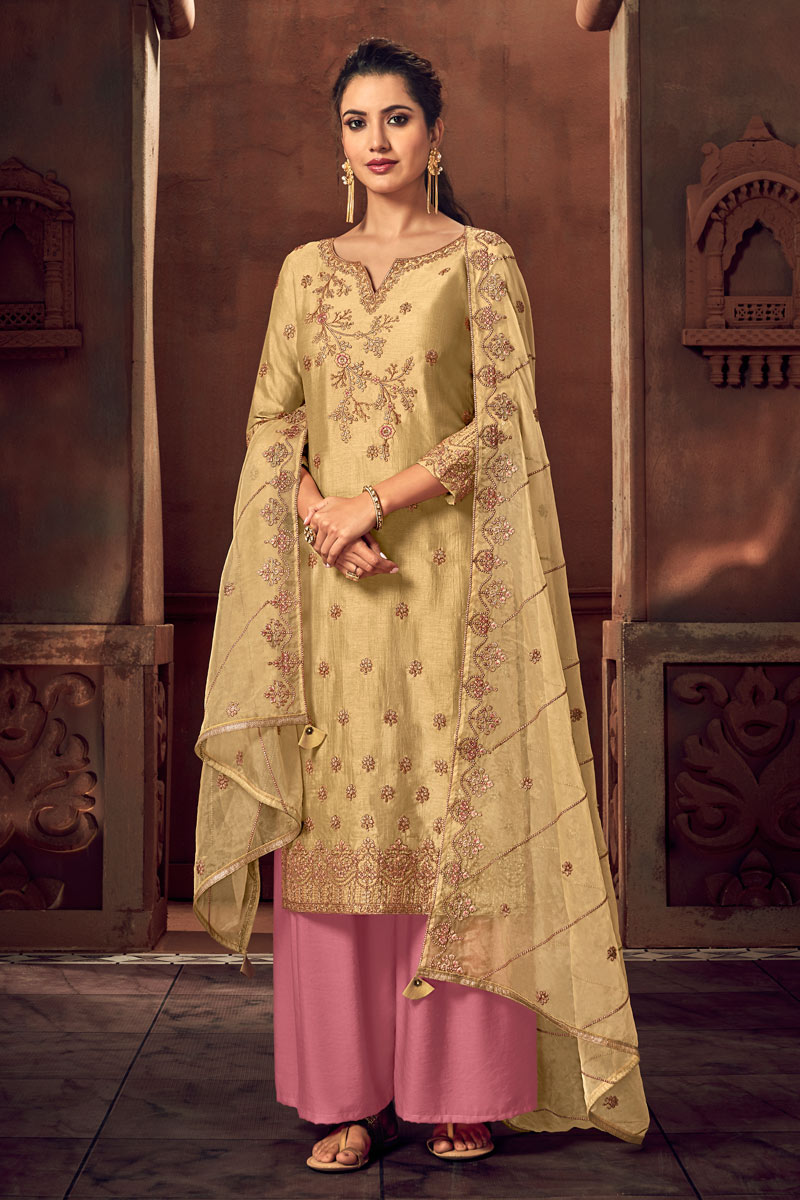 Eid Special Embellished Art Silk Fabric Designer Party Wear Palazzo Suit In Beige Color