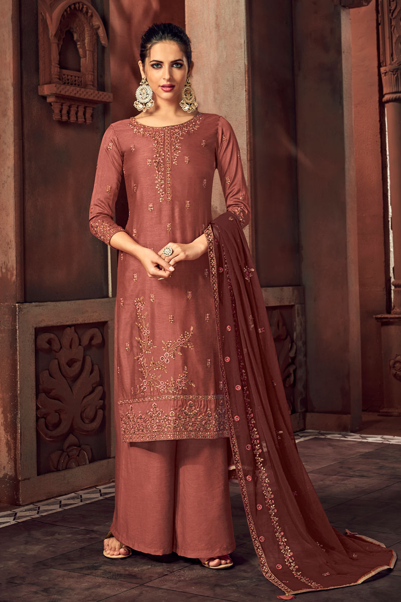 Eid Special Maroon Color Designer Embroidered Palazzo Suit In Art Silk Fabric
