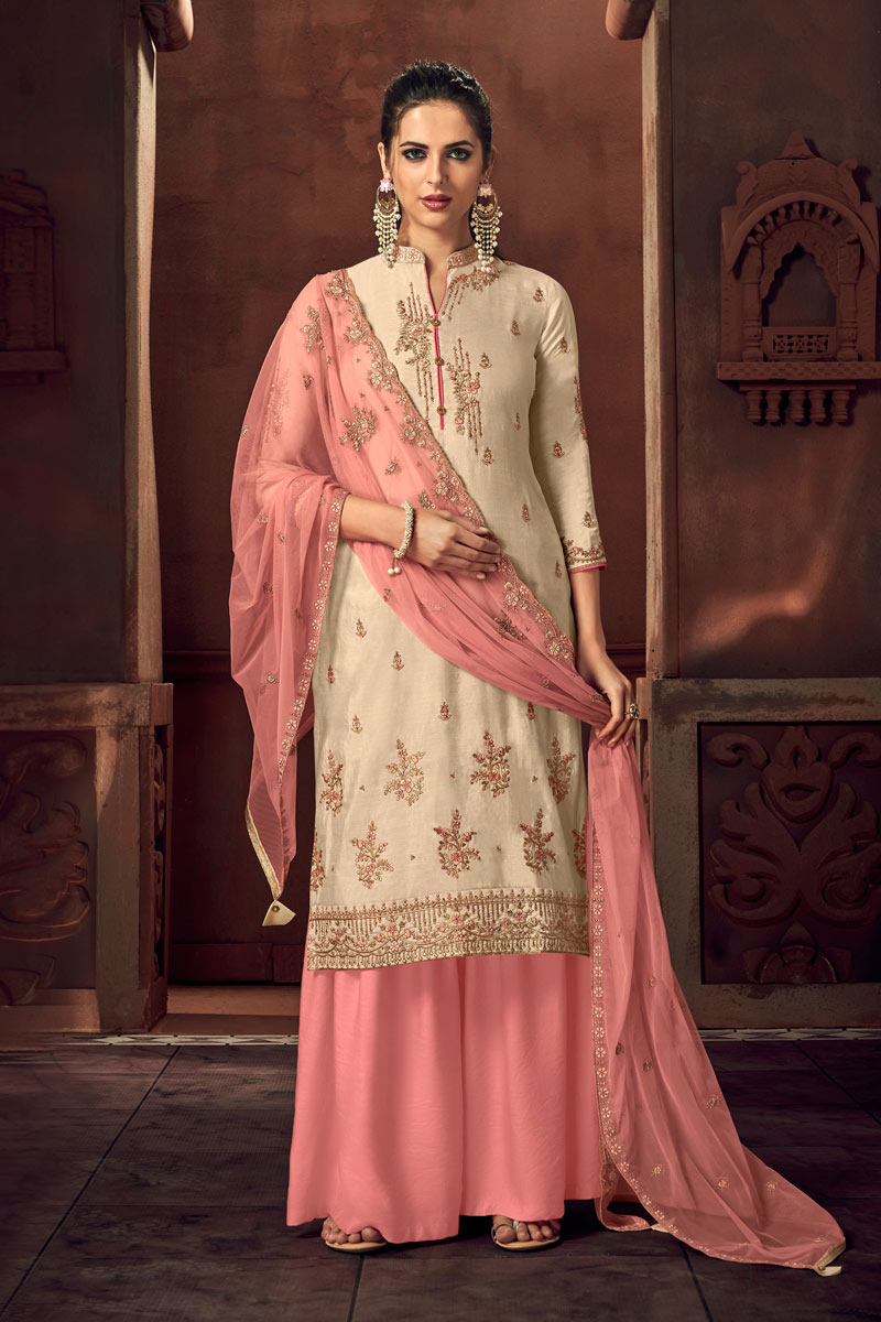 Eid Special Occasion Wear Cream Color Palazzo Style Salwar Kameez In Art Silk Fabric With Embroidery Work