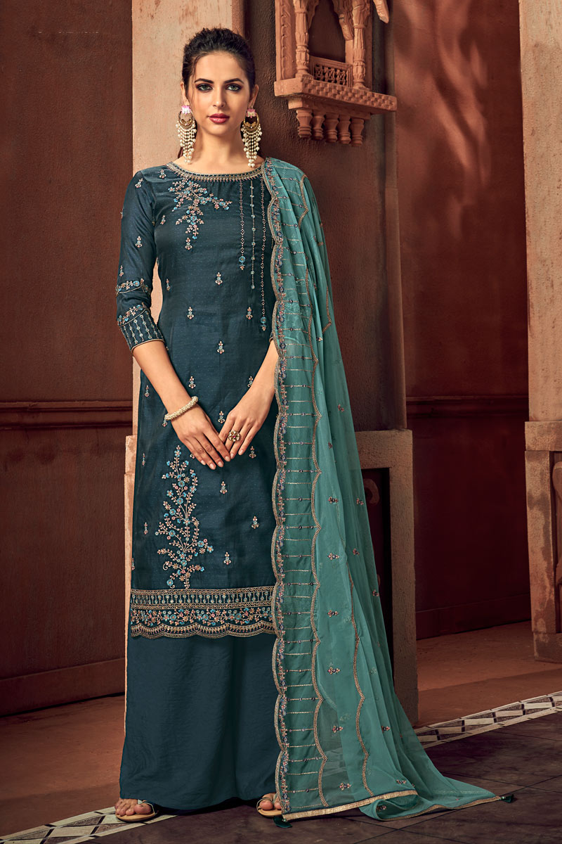Eid Special Teal Color Art Silk Fabric Festive Wear Palazzo Salwar Suit With Embroidery Work