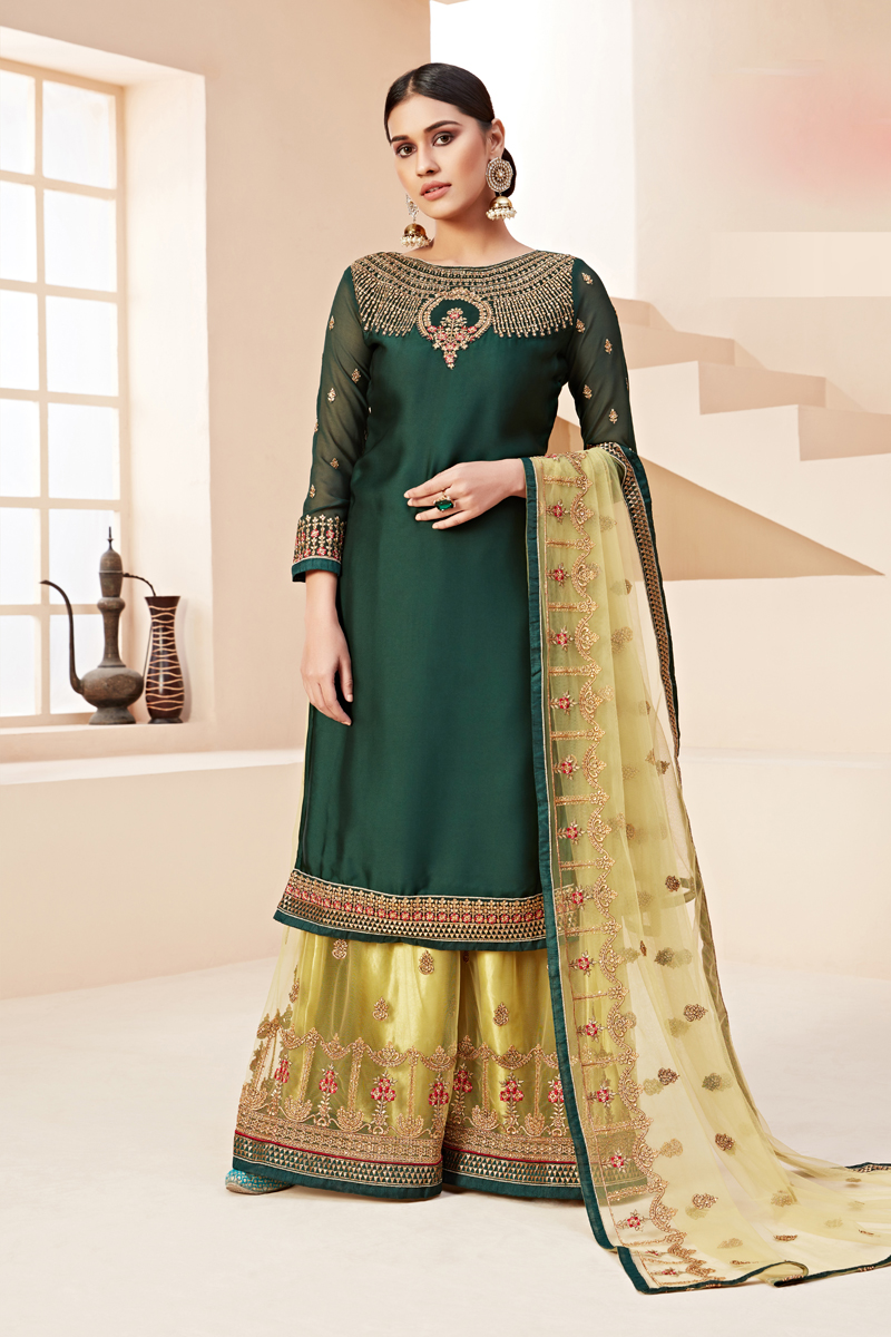 Dark Green Color Embroidered Sharara Style Palazzo Salwar Kameez